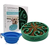Freefa Slow Feeder Dog Bowl Bloat Stop Dog Food Bowl Maze Interactive Puzzle Non Skid, Come with Free Travel Bowl (Dark Green