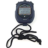 JZK® Professional Digital Sport Stopwatch Timer, 2 Rows 10 Memory, Countdown Alarm, battery + hang rope, PC2810