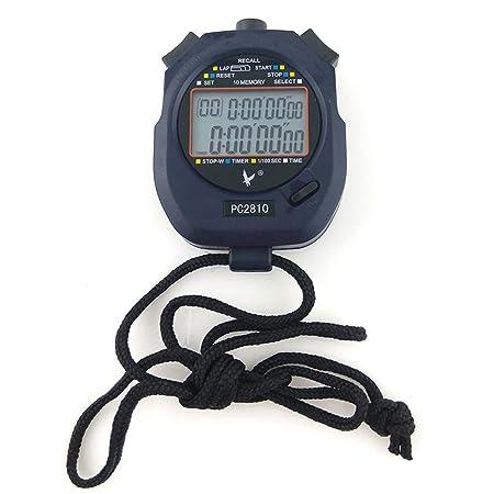 JZK® Cronómetro deportivo digital profesional, 2 filas 10 memoria, alarma, cuenta regresiva, batería + acollador, PC2810