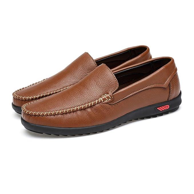 HJKL Mocasines Casuales de Cuero de los Hombres, Zapatos de Goma Suave (Color : Hollow Black, tamaño : 46 EU): Amazon.es: Hogar