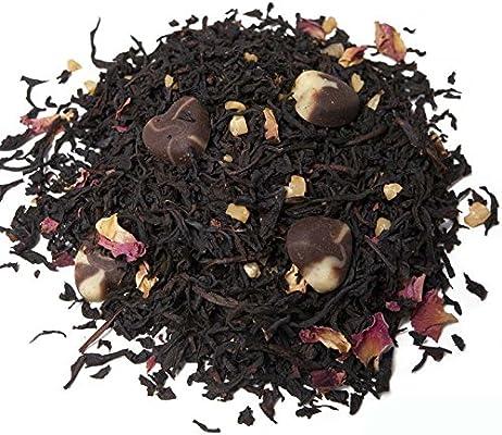 Aromas de Té - Té Negro Praliné Premium con Chocolate Fresa y Almendras Dulce Contiene Magnesio Calcio Hierro Potasio y es un Antioxidante Natural, 100 gr
