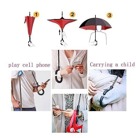 Paraguas reversible, doble capa, paraguas invertido, para el coche, recto, impermeable, se aguanta solo, de viaje, compacto con mango en
