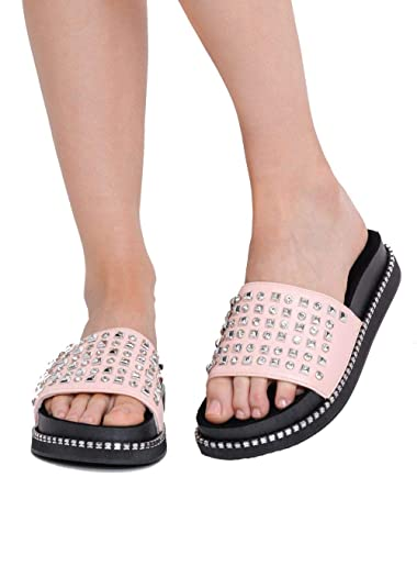 c17d62ee1db1 Lily Lulu Women s Shoes Studded Contrast Flatform Sliders  Amazon.co ...