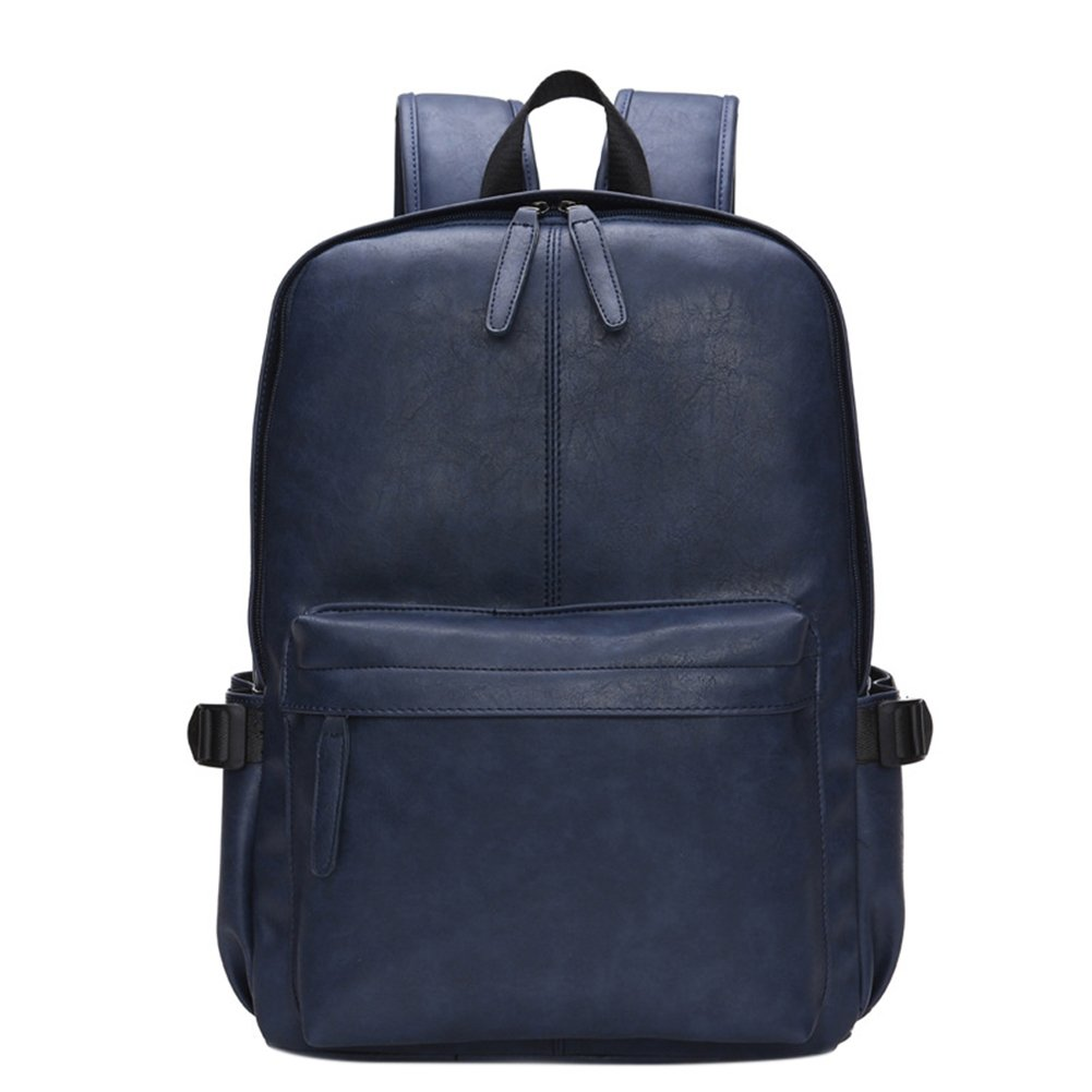 Men's Concise Daypack Soft PU Leather Travel Backpack Casual Dual Zipper Computer Bag Schoolbag for Students(Blue)
