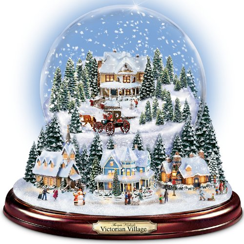 Thomas Kinkade Victorian Village Illuminated Musical Snow Globe