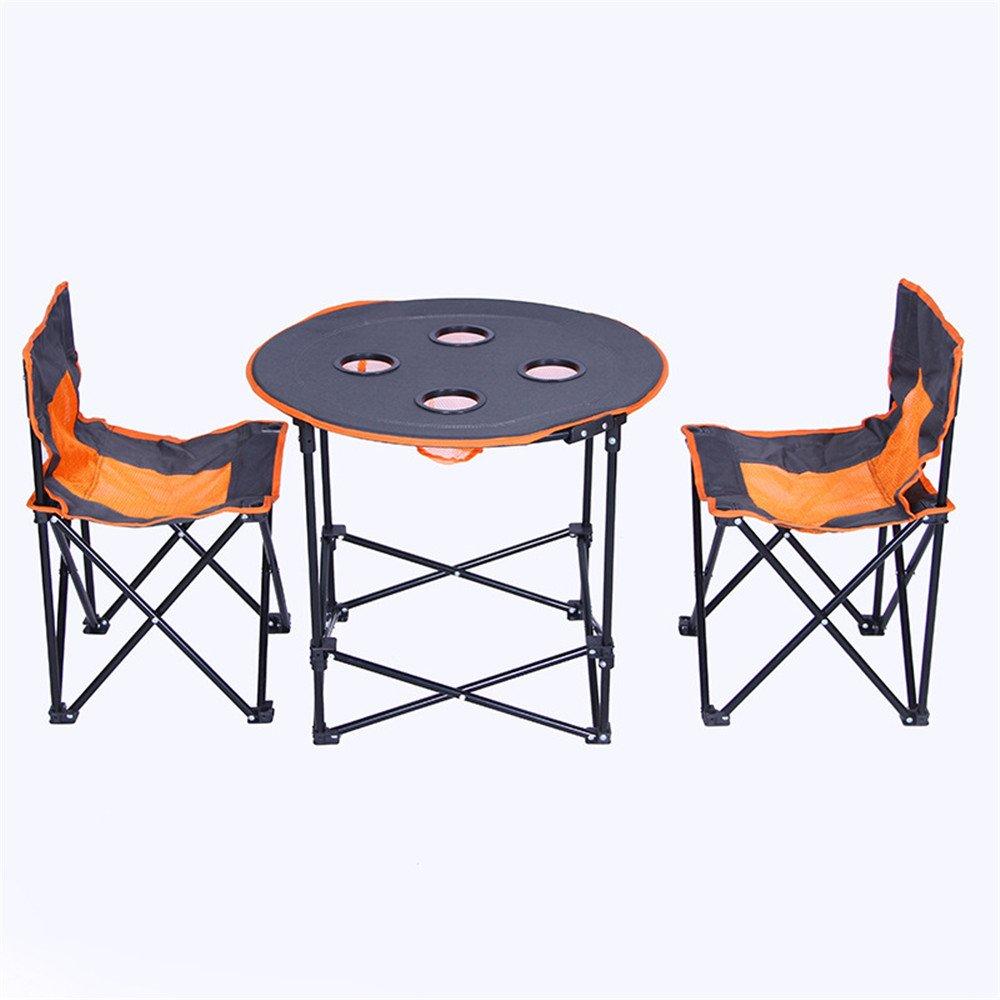 屋外ポータブルキャンプテーブルセット/多機能折り畳み式丸テーブルと椅子。 B07BXMVPFG
