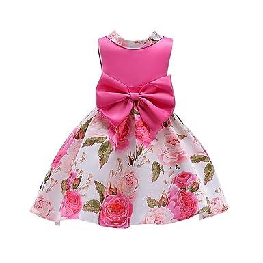 9dd132d59f2c0 Amazon.co.jp: LZE 少女 印刷 ボウプリンセスドレス フラワーガールの ...