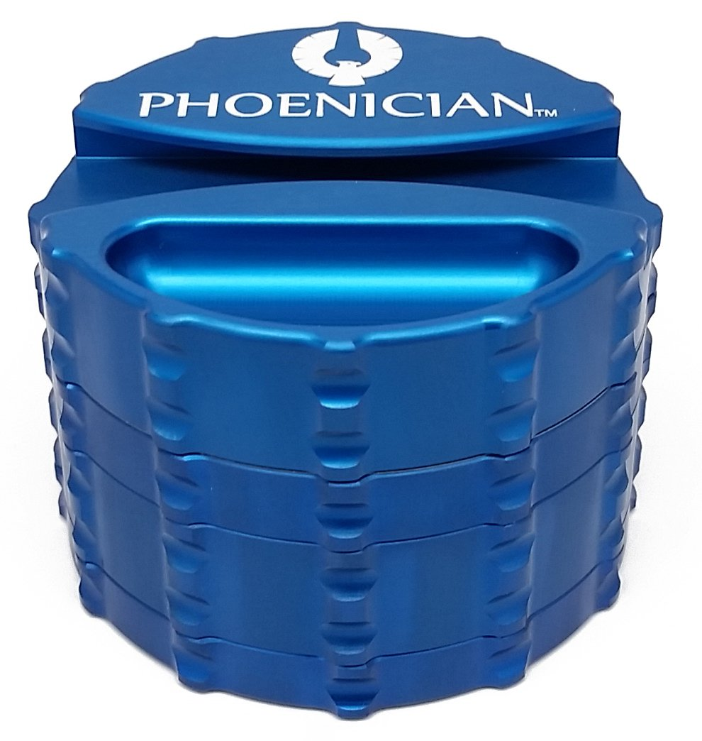 Phoenician Herb Tobacco Spice Grinder with Paper Dispenser - 4 Piece Anodized Aluminum Set - Official Medical Grade Phoenician Grinders - Made in USA - Large (Ocean Blue) by Phoenician