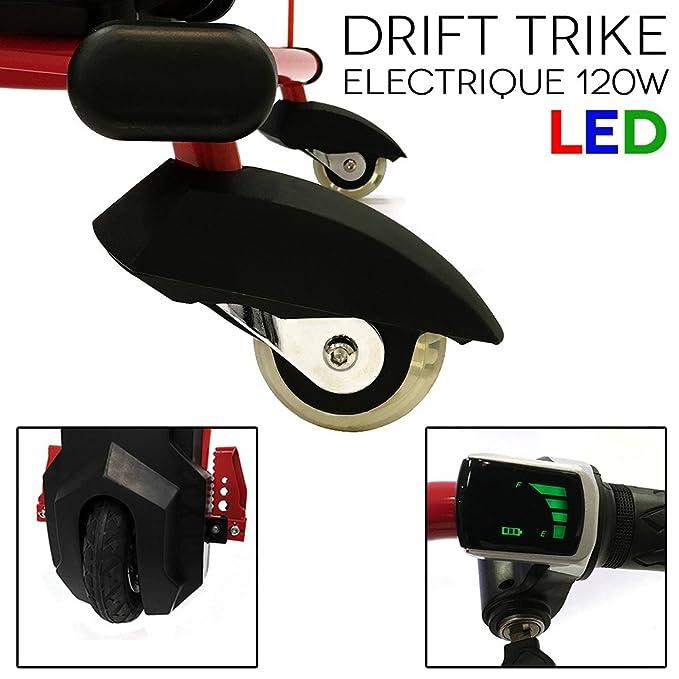 Drift trike Triciclo eléctrico 120 W con LED rojo: Amazon.es: Electrónica