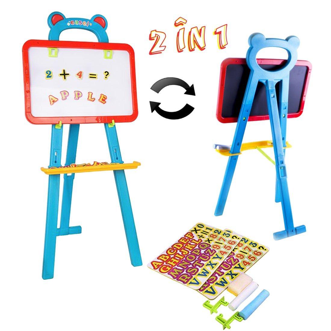 deAO Cavalletto Artistico per Bambini Lavagne Doppia Faccia (2in1 Giro Rapido) - Lavagne e Lavagnette Set Include 84 Magneti e Due Gesso DB-B