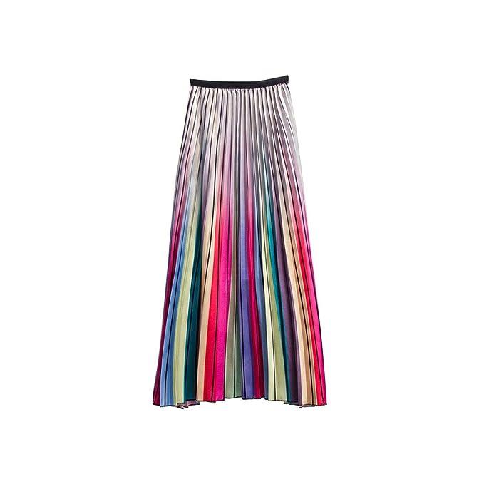 New Womens Rainbow Pleat Casual A Line skirt Girl High waist Gradient Long skirt
