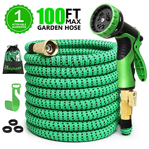 100ft Expandable Garden Hose, Expanding Water Hose with 3/4 inch Strong Solid Brass & 9 Function Nozzle , Expandable Hoses No-kink Leaking Flexible Lightweight Gardening Hose Yard Hoses Outdoor