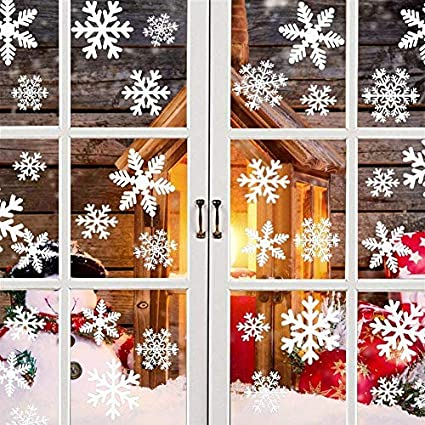 CHRISTMAS GLITTER SNOWFLAKES WINDOW STICKERS Clings Reusable White Decoration UK