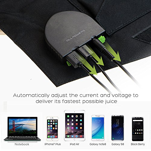 Solar Charger, ALLPOWERS 60W Foldable SunPower Solar Panel (Dual 5V USB with iSolar Technology+18V DC Output) for Laptop, ipad, Smartphone, iphone, Samsung, and 12V Car, Boat, RV Battery by ALLPOWERS (Image #2)