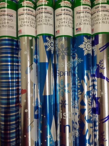 3 Rolls Blue/Silver Shiny Christmas Wrapping Paper by Christmas House