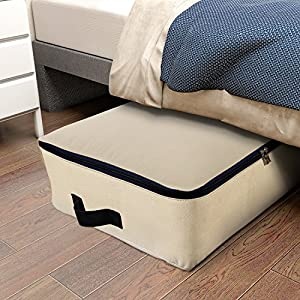 Lifewit Cotton Canvas Foldable Under Bed Storage Bags for Comforters, Blanket, Bedding, Duvet, Clothes, Quilt, Pillows, Sweaters
