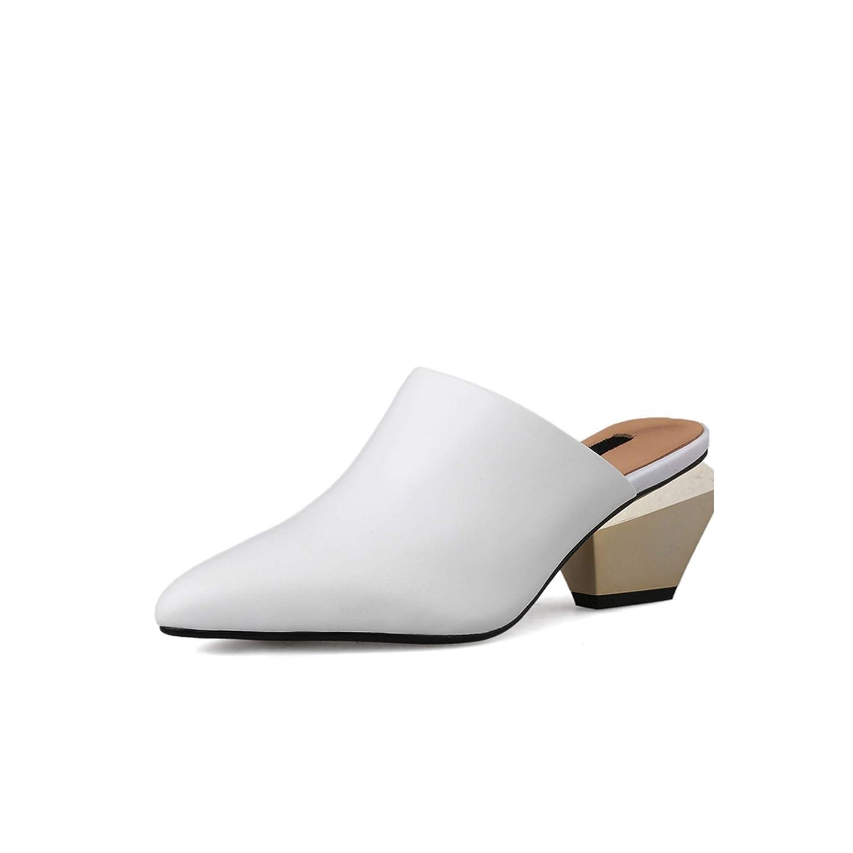 White Sheepskin Slippers Woman Pointed Toe Footwear Unusual Heel High Slides shoes,