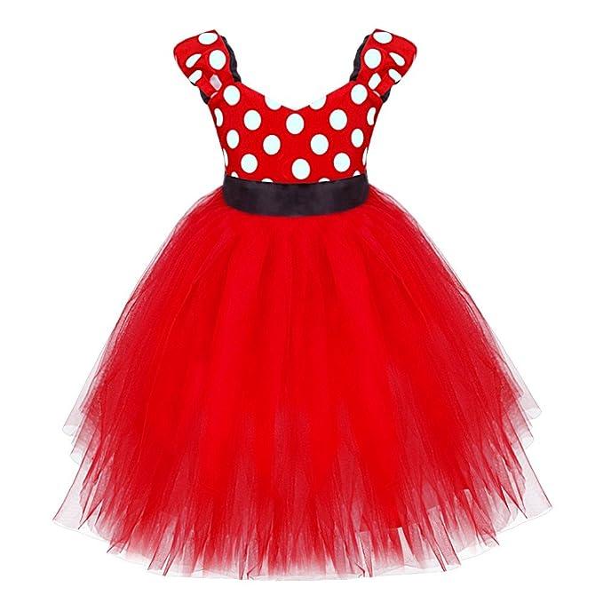 bc4f9e41d YiZYiF Vestido Rojo con Lunares para Bebé Niña Disfraz de Princesa niña   Amazon.es  Ropa y accesorios