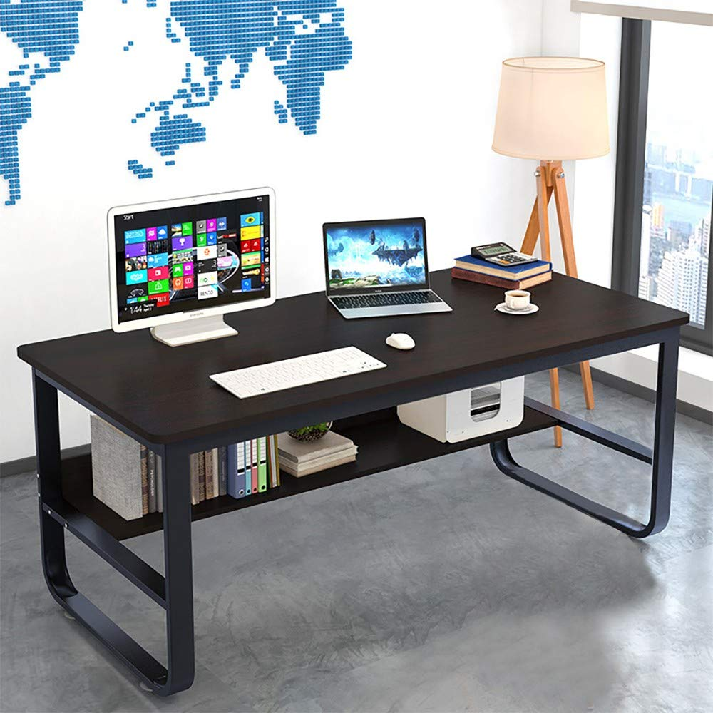 55.2 x 27.6 x 28.8 Study Game Rectangular Workstation for Home Office JKRED Computer Desk with Bookshelf U-Shaped Wide Legs Anti-Slip Mat Spacious Writing Table Desktop