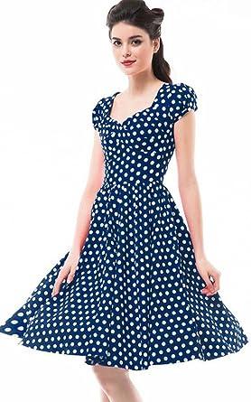 fc6c4bb89254b Betty Rose Women's Vintage Style Polka Dot Cap Sleeve Flare Dresses(size  2-18 ) at Amazon Women's Clothing store: