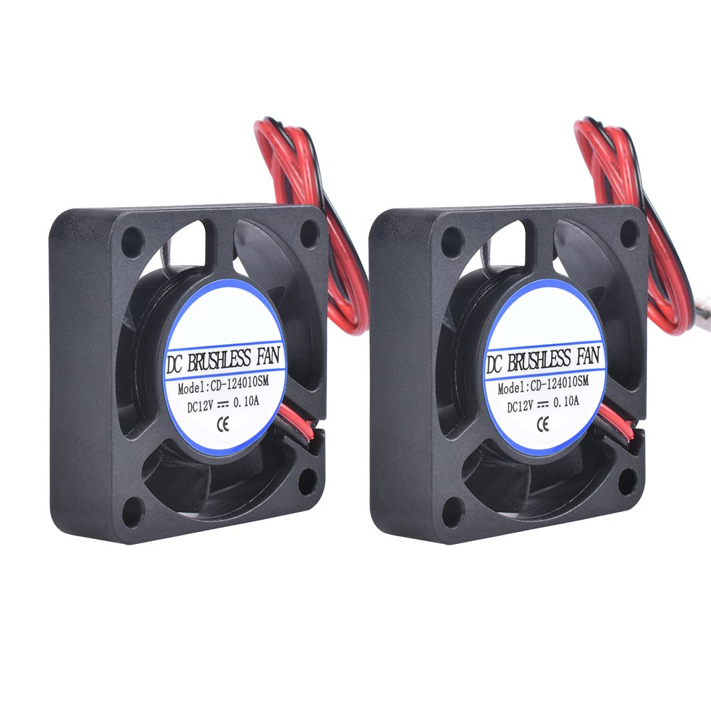 Pack of 2pcs KINGPRINT DC 12V 40x40x10mm Silent Brushless Cooling Fan for 3D Printer