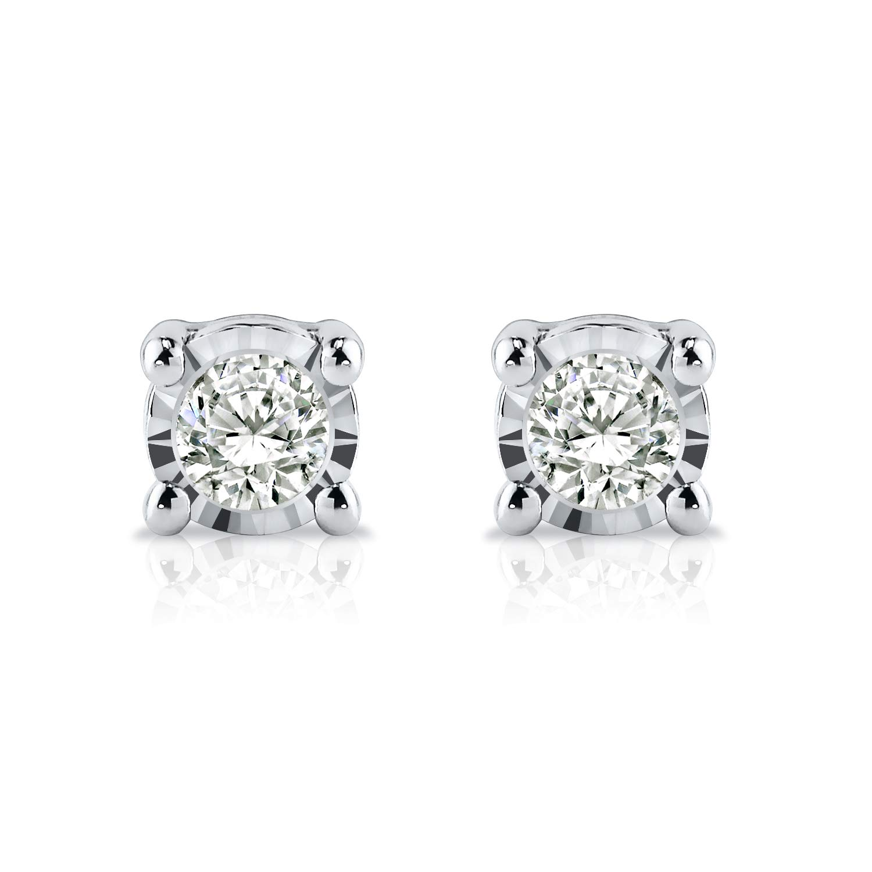 0.08cttw, Good, SI2-I1 Push-Back 4-Prong Basket Diamond Wish 14k Gold Round SINGLE Diamond Stud Earring