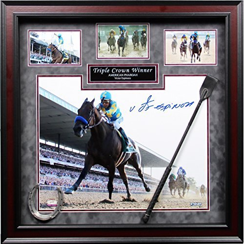 victor-espinoza-hand-signed-american-pharoah-triple-crown-winner-24-inch-x-24-inch-custom-framed-col