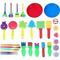 TOYANDONA 29 Pcs Kids Painting Sponge Set Painting Sponge Brushes Painting Stamps Palette Foam Art Craft Drawing Tools…