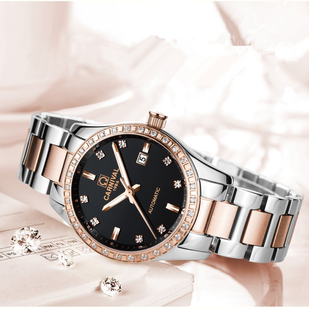 Carnival Couple Watches Men And Women Automatic Akribos Xxiv Ak499rg Mens Mech Watch Leather Strap Rose Gold Mechanical Fashion Chic For Her Or His Set Of 2 Black