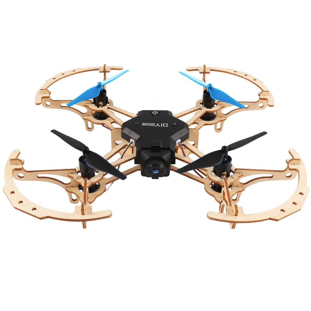 MOZATE ZL100 DIY Wooden Quadcopter Remote with HD Camera Video Aerial Aircraft (Black)