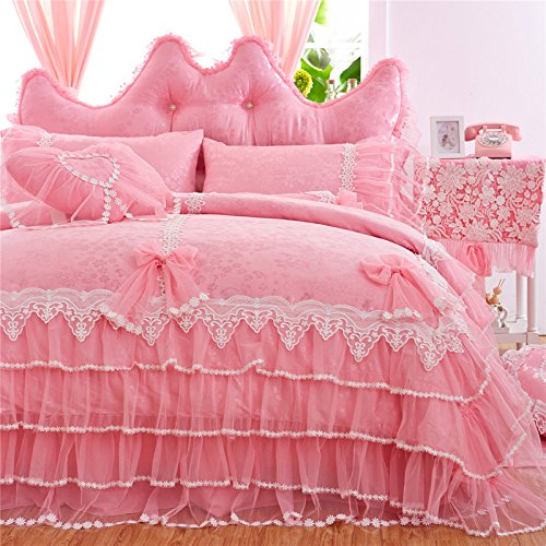 LELVA Girls Bedding Set Ruffle Lace Bedding Set Bedding Set Beautiful Princess Wedding Bedding Set (Twin, Pink) by LELVA
