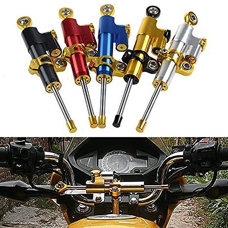 Tencasi Plata y Negro CNC Estabilizador de Amortiguador de direcci/ón Ajustable para Motocicleta Universal