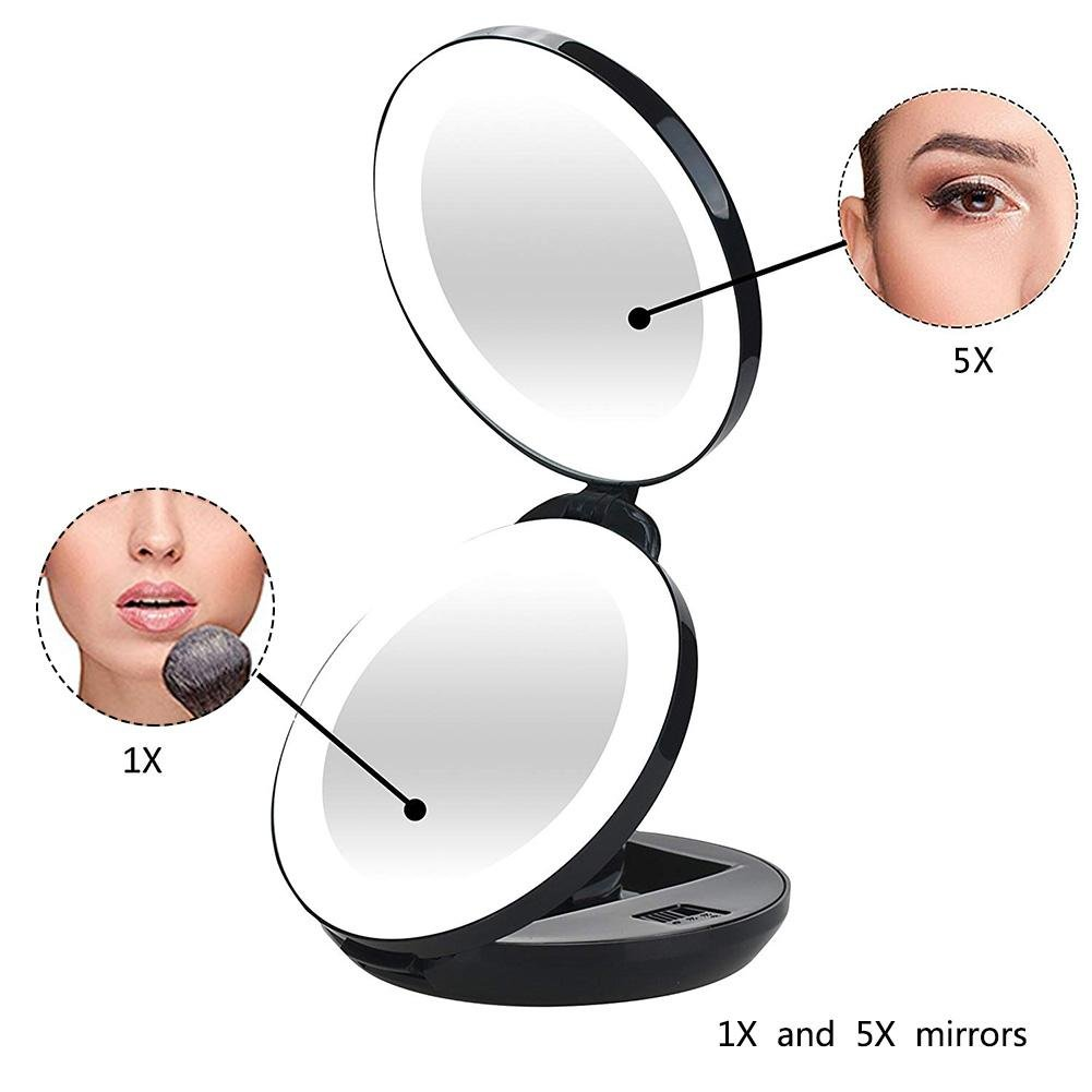 Round Folding LED Double-sided Magnifying Makeup Mirror Lighted Travel Makeup Mirror With Magnification Ksruee