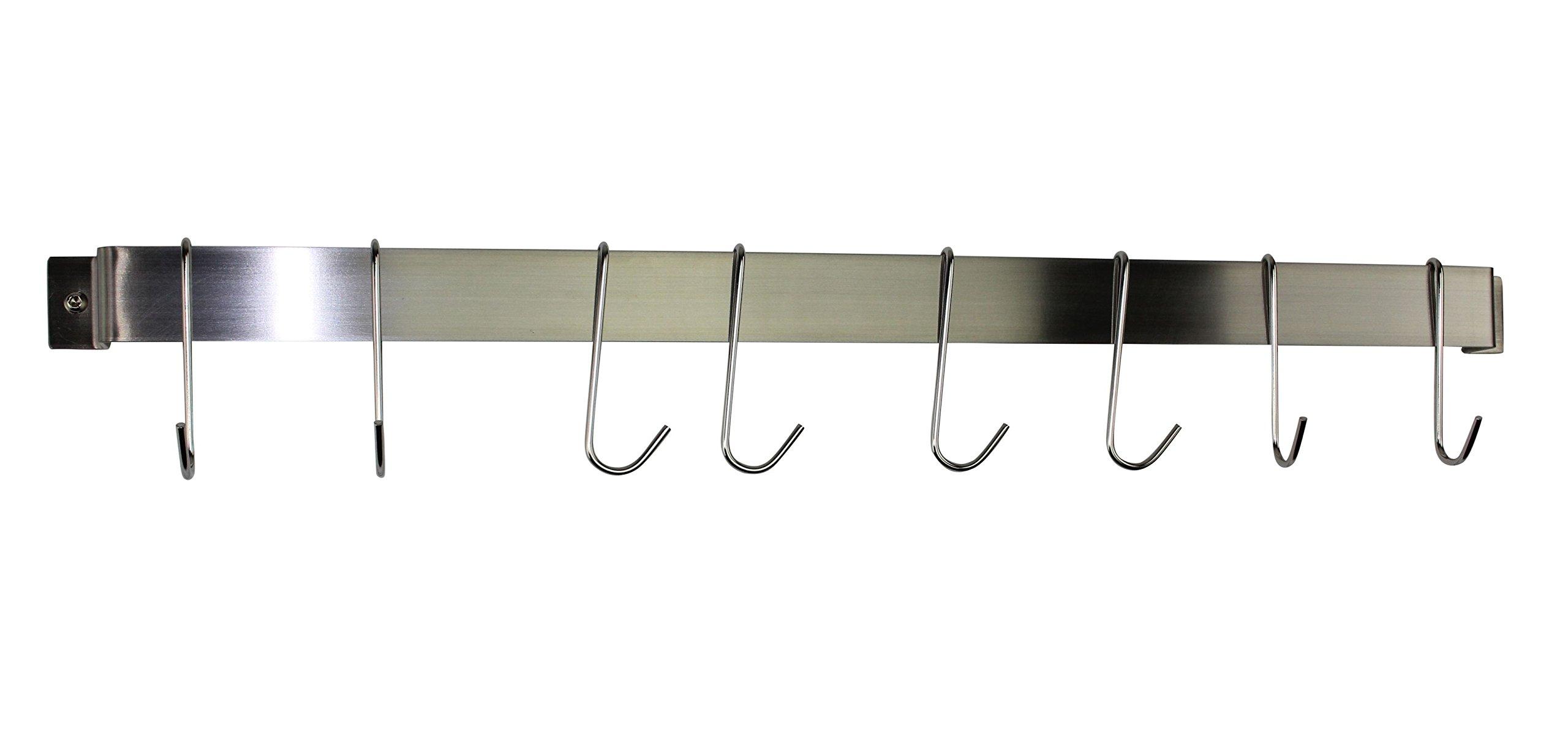 Enclume® Rack It Up NEW 32'' Easy Mount Wall Rack Utensil Bar w 8 Hooks Stainless Steel