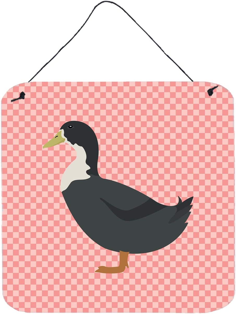 Caroline's Treasures BB7862DS66 Blue Swedish Duck Pink Check Wall or Door Hanging Prints, 6x6, Multicolor