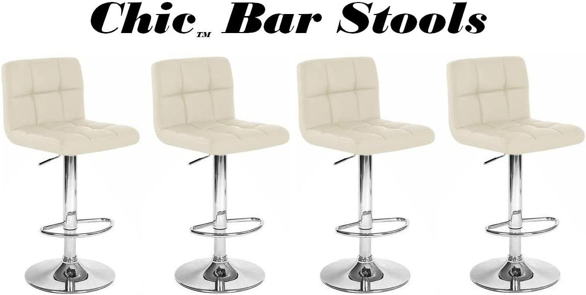 South Mission Chic Modern Adjustable Synthetic Leather Swivel Bar Stools – Set of 4 Creme