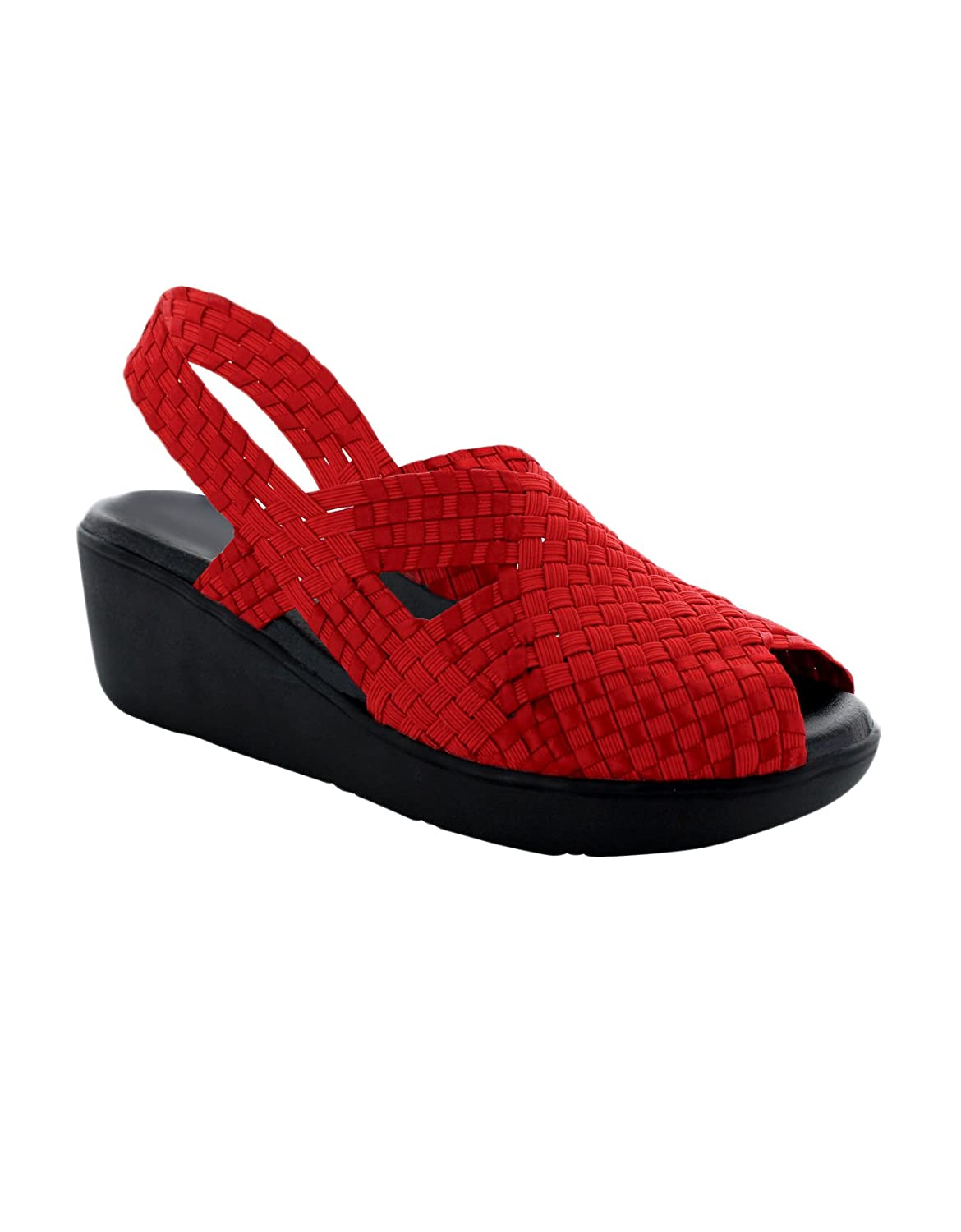 Paige Slingback Wedge Sandal Woven Shoes, Supports Plantar Fasciitis Foot Pain & Problems B076X97W84 6 B(M) US|Red