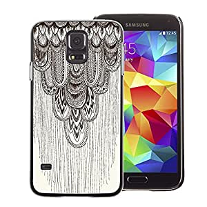 A-type Arte & diseño plástico duro Fundas Cover Cubre Hard Case Cover para Samsung Galaxy S5 (Pencil Drawing Art Beige Pattern Feather)