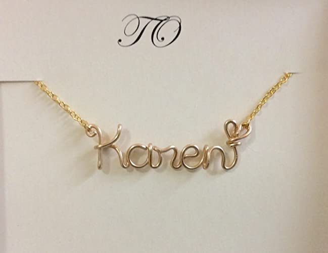 510badffd2493 Amazon.com: Name Necklace,wire name necklace,Personalized wedding ...