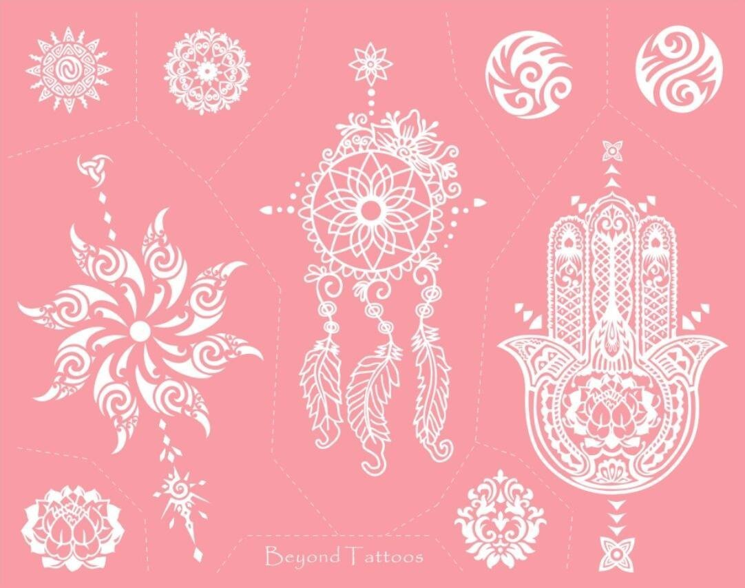 Reusable Micronet Mesh Stencil Tattoo Stencil Template 6 Large Sheet Set Pink by TIE (Image #6)