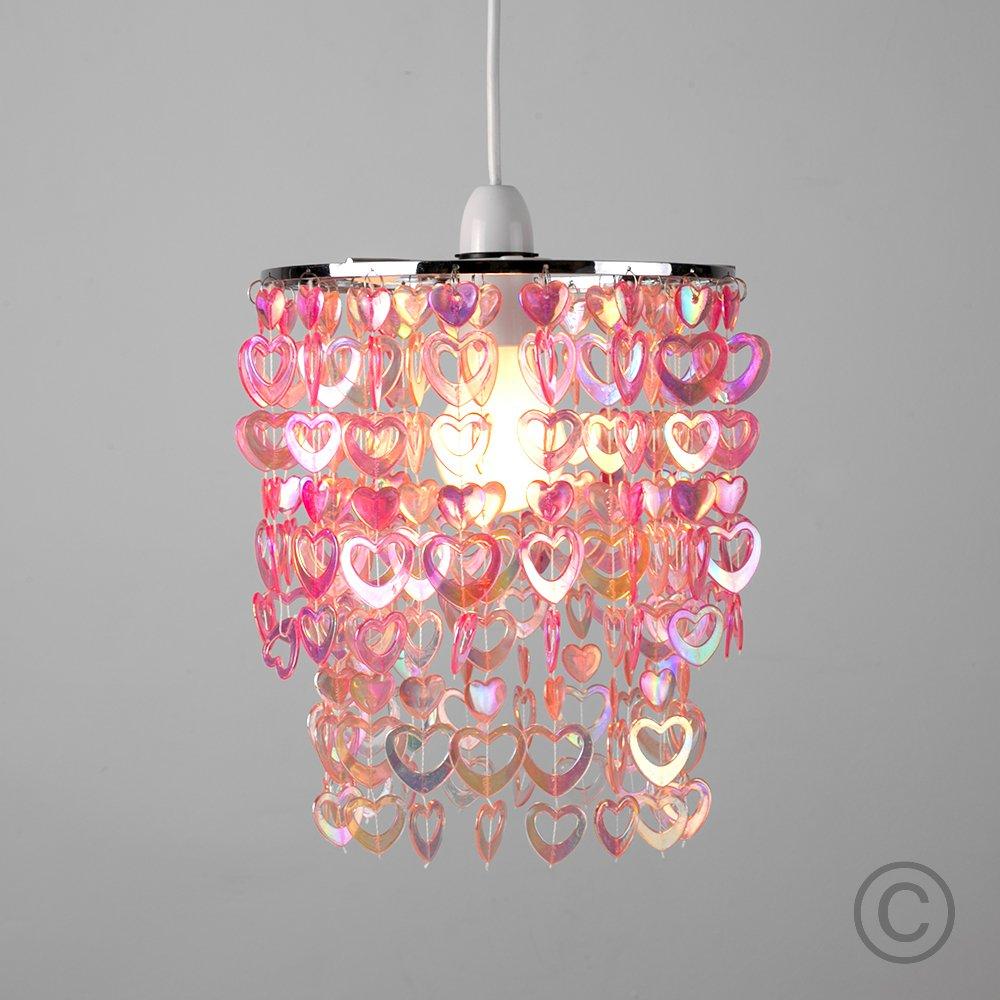 Beautiful pretty pink acrylic love heart beads ceiling pendant beautiful pretty pink acrylic love heart beads ceiling pendant childrens light shade amazon lighting aloadofball Images