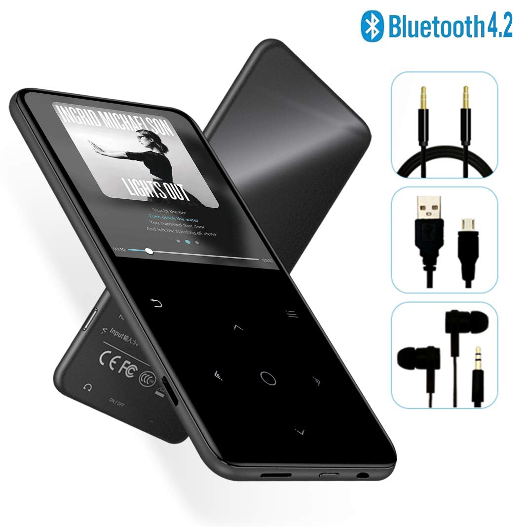 MP3 Player - [2019 May Newest Model] Bluetooth 4.2 Thin Body 2.4'' TFT & 2.4D Sides Curved Large Screen Player Built-in Speaker, with FM & Voice Recorder, Expandable 128GB TF Card, H6-Gray