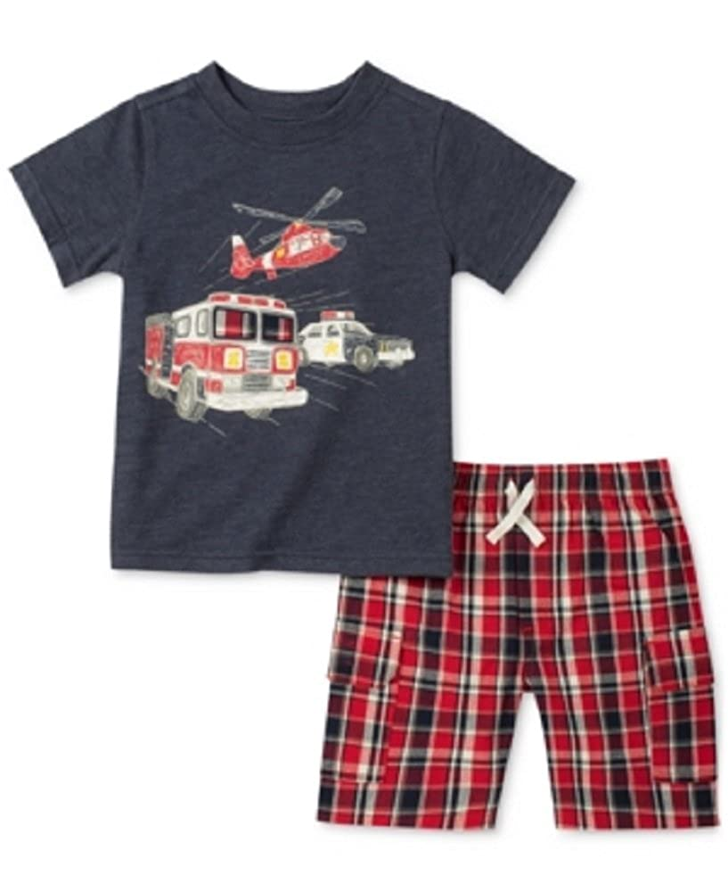Kids Headquarters 2-Pc 12 Months Rescue-Print T-Shirt /& Plaid Cargo Shorts Set