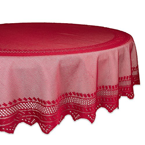 DII 100% Polyester, Machine Washable, Crochet/Lace Tablecloth, 70″ Round Seats 4 to 6 Peop ...