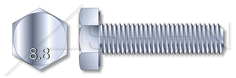 (500 pcs) M7-1.0 X 12mm DIN 933, Metric, Hex Head Cap Screws Bolts, Full Thread, Class 8.8 Steel, Zinc Plated