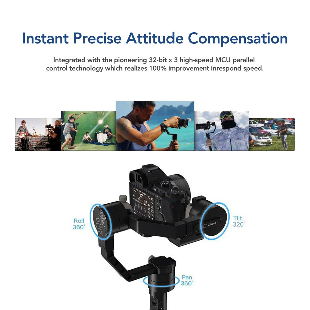Zhiyun Crane 2 Follow Focus 3 Axis Handheld Gimbal Stabilizer Dslr With Fokus For Mirorrles Camera Up To 7 Lb 18 Hrs Run Time Oled Display C020012 Stabilizers Electronics