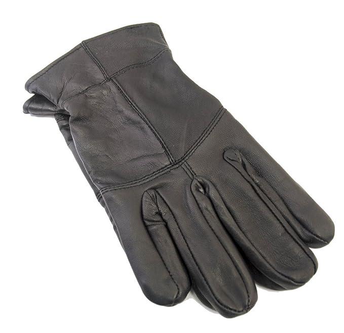 brand new 4b912 e954c Tom Franks Mens-Schwarz-Leder Thinsulate gefütterte Handschuhe