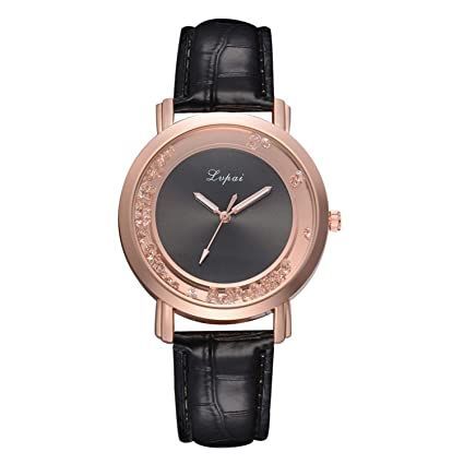 liberalism Vintage Quicksand Bead Ladies Watch Casual Female Leather Quartz Wrist Watch Rose Gold Women Watches