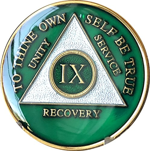 - 9 Year AA Medallion Metallic Green Tri-Plate Gold Plated Chip IX