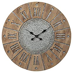 Ashley Furniture Signature Design - Payson Wall Clock - Farmhouse Style - Antique Gray/Natural